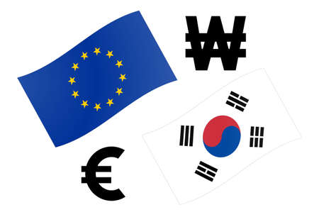 EURKRW forex currency pair vector illustration. EU and South Korean flag, with Euro and Won symbol.