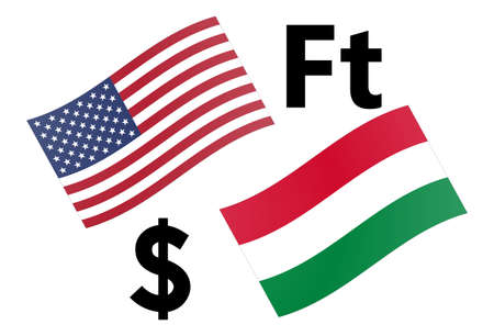 USDHUF forex currency pair vector illustration. American and Hungarian flag, with Dollar and Forint symbol.