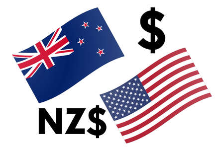 NZDUSD forex currency pair vector illustration. New Zealand and American flag, with Dollar symbol. Иллюстрация