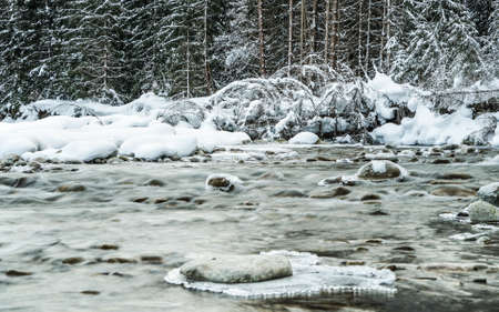 Small creek in winter, snow covered trees and shore background, ice on top of rocks at river