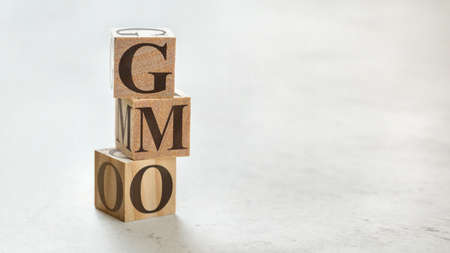 Pile with three wooden cubes - letters GMO meaning Genetically Modified Organism on them, space for more text / images at right side.