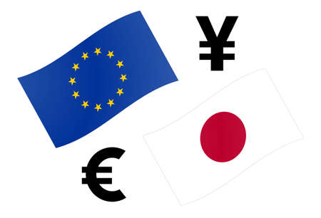 EURJPY forex currency pair vector illustration. EU and Japanese flag, with Euro and Yen symbol.