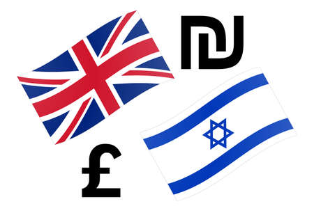 GBPILS forex currency pair vector illustration. British and Israeli flag, with Pound and Shekel symbol. Illusztráció