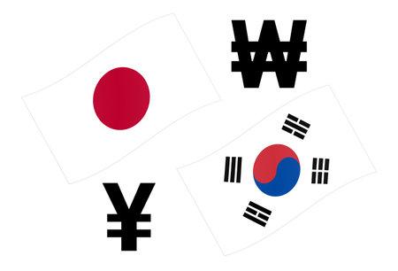 JPYKRW forex currency pair vector illustration. Japanese and Korean flag, with Yen and Won symbol. Illusztráció