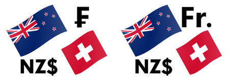 NZDCHF forex currency pair vector illustration. New Zealand and Swiss flag, with Dollar and Franc symbol. Illusztráció