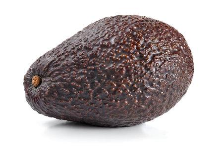Single dark brown ripe avocado (bilse variety) isolated on white background
