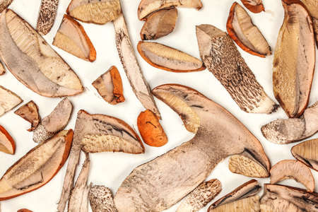 Table top view freshly picked forest mushrooms - orange cup scaber stalk - cut to thin slices, leaved on white paper to dry Stock fotó