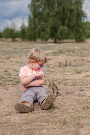 Little boy is sitting on ground and ground-squirrel is next to him. He tries to feed the animal.