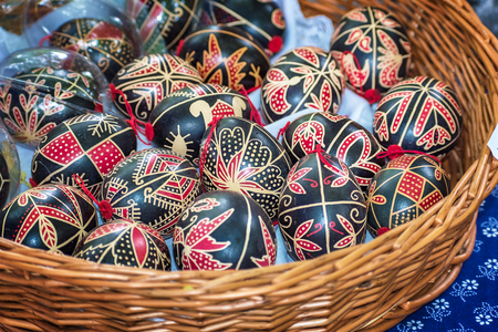 craftmanship: Easter egg - handmade painted with natural colors - Folk art