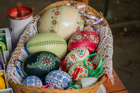 Easter egg - handmade painted with natural colors - Folk art