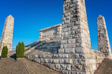 reverent: Cairn  tumulus (Mohyla) of Milan Rastislav Stefanik on the Bradlo hill in Brezova pod Bradlom Stock Photo