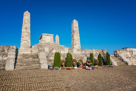 Cairn  tumulus (Mohyla) of Milan Rastislav Stefanik on the Bradlo hill in Brezova pod Bradlom Stock Photo