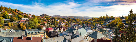 Pangrammatic view of Banska Stiavnica in autumn time, Slovakia, UNESCO Reklamní fotografie
