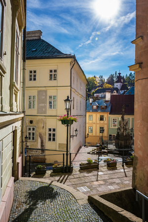 Stairs to the town center of Banska Stiavnica, Slovakia, UNESCO