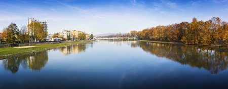 Bridge in Piestany (Slovakia), Vah river + blue sky + colorful autumn (PANORAMA)