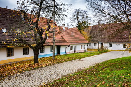 Colorful old Anabaptist houses in Velke Levare (Slovakia) Stock Photo
