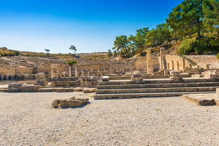 Fountain Square with doric temple in city of Kamiros (island of Rhodes, Greece)