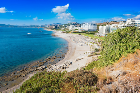 Beach with hotels in Faliraki, Kallithea (Rhodes, Greece) 写真素材