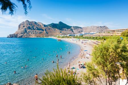 People enjoying their vacation on Kolymbia beach (Rhodes, Greece)