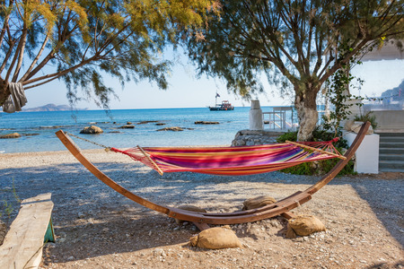 Relax in Hammack on Kolymbia beach (Rhodes, Greece)