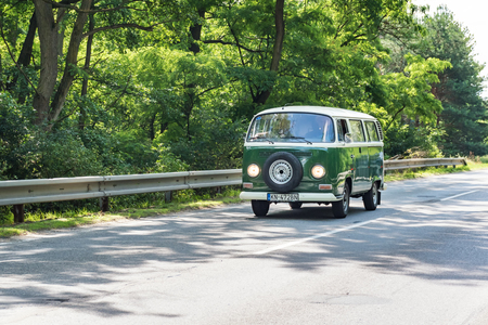 MALACKY, SLOVAKIA – JUNE 2 2018:  Volkswagen Microbus takes part in the run during the veteran car rally Kamenak 2018 at the Kamenny mlyn roadhouse Editorial