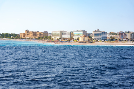 View of coastline of City of Rhodes lined with hotels on Elli beach (Rhodes, Greece) Reklamní fotografie