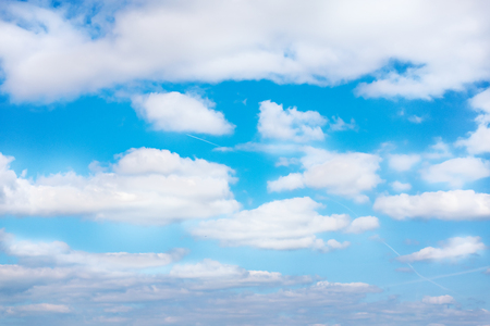 Blue sky with white clouds. Daytime and good weather