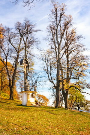 Wayside shrine with Jesus Christ in Calvary complex in Banska Stiavnica during autumn Banque d'images