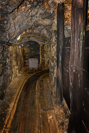 Old wooden mine chart in abandoned mine shaft with wooden timbering
