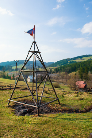Natural oil spring in Korna village in protected natural area of Kysuce (Slovakia) 스톡 콘텐츠