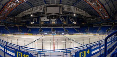 KOSICE, SLOVAKIA – APRIL 29 2019: indoor view of Steel Arena – Ice hockey stadium where IIHF International Ice Hockey World Championship 2019 will be held (KOSICE, SLOVAKIA)