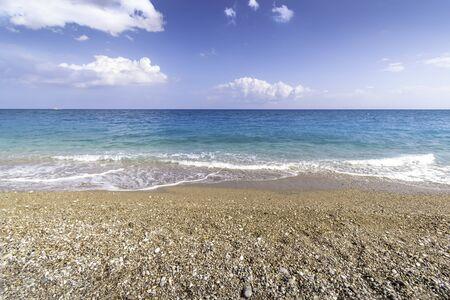 View of sea from Afandou beach near Faliraki, bluy sky, clouds, (Rhodes, Greece)