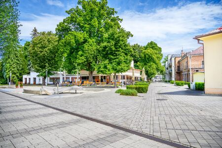 Pedestrian zone with small square in centre of spa town Piestany (SLOVAKIA)