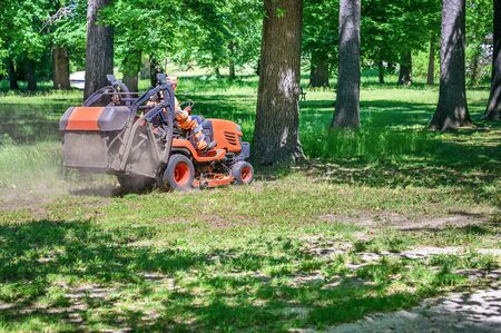 Man mows the grass under trees in park by riding mowing machine in sunny day  Stock fotó