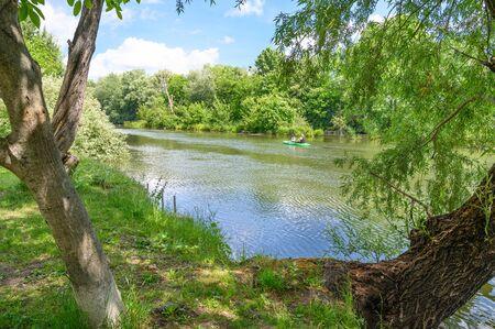 Korzo Zalesie - area for leisure activities by Little Danube river in village of Zalesie (SLOVAKIA) Stock fotó