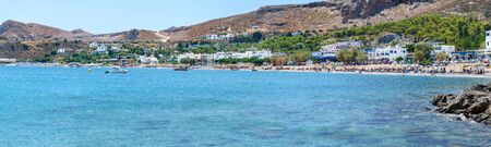 Panoramic view of Stegna beach close to Town of Archangelos (RHODES, GREECE)