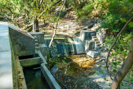 Small dam on Loutanis river in Seven spring (Epta Piges) in forest near Kolymbia (Rhodes, Greece)