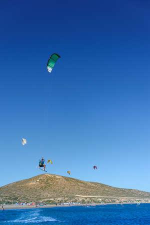 Kitesurfer in big jump in air on Prasonisi beach (Rhodes, Greece) Stock fotó