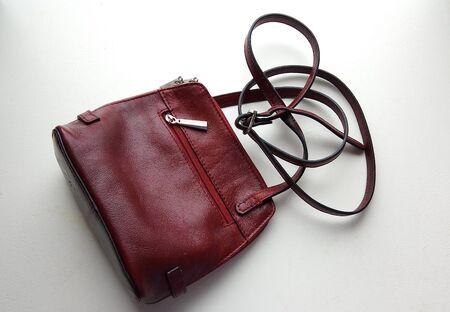 Leather handbag on white background.bag accessory case