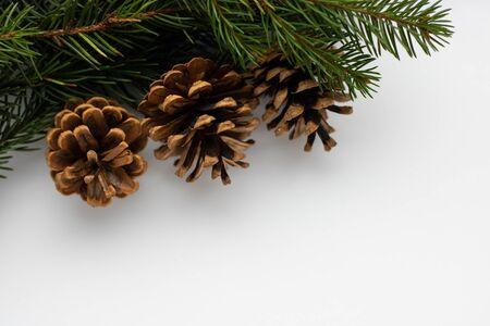 Rami di abete con coni nell'angolo su uno sfondo bianco isolato. Modello di carta di Capodanno.