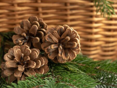 pine cones in a wicker basket on a brown background.chrismas holidays.