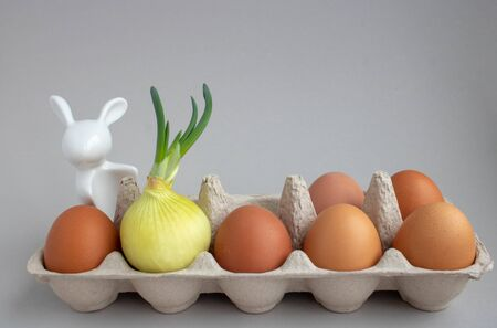 sprouted onion in a lattice with brown eggs.a rabbit's face is painted on the bulb.Easter decor.concept