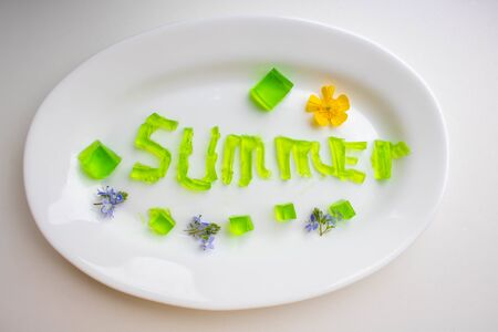 The word summer is made of green jelly cubes on a white plate.