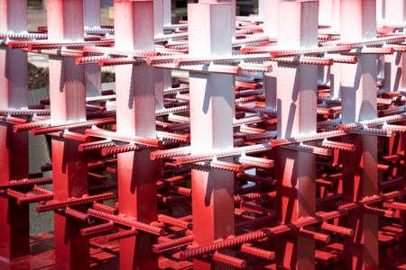 Steel Rebars for reinforced concrete.steel reinforcement bar texture in construction site