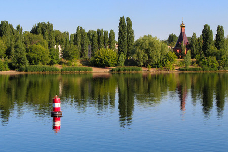 volga: The buoy on the river Volga Stock Photo