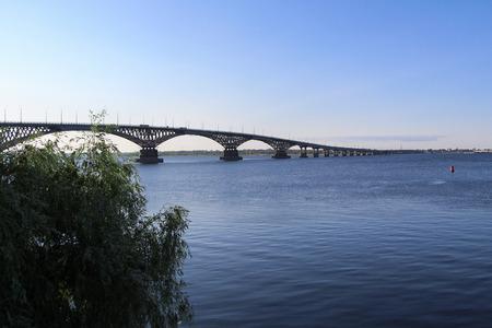 volga river: The bridge across the Volga river
