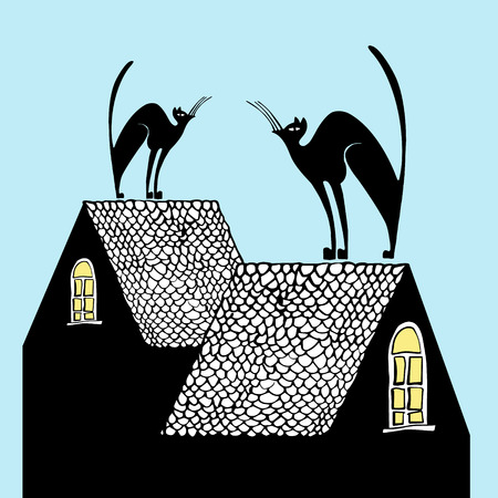 mating: Hand drawn illustration black cats on the roofs