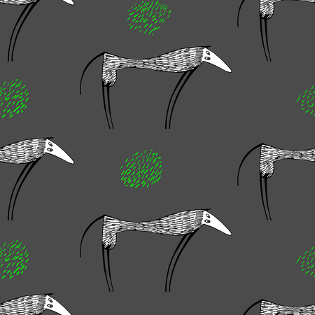 seamless vector pattern with high funny dogs.Hand drawn Illustration