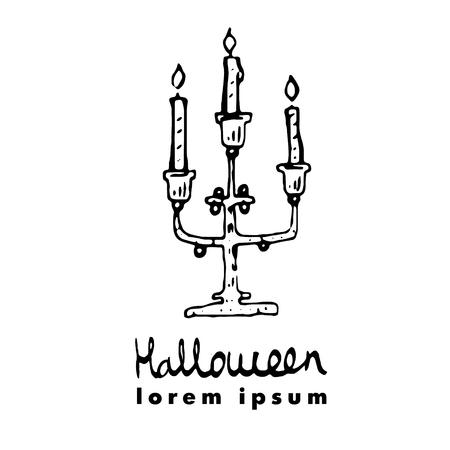 candleholder: Candlestick, candleholder, candelabrum. Vector illustration of cute greeting card for Halloween.