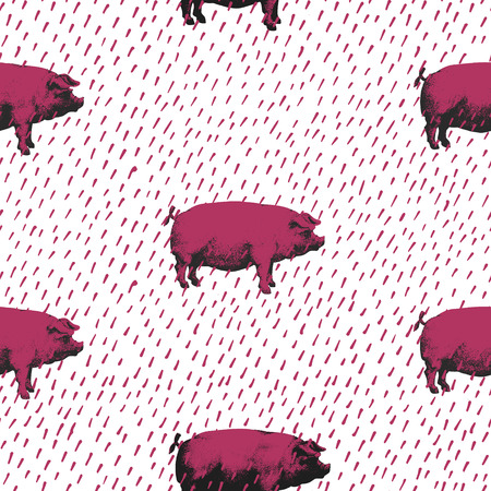 Seamless vector pattern wits pigs, hand drawn illustration